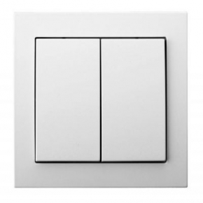 Biały włącznik schodowy podwójny ŁP-10W/00 KIER OSPEL