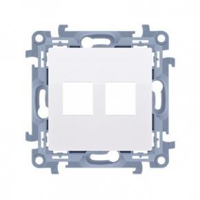 Biała pokrywa gniazd teleinformatycznych na Keystone podwójna CKP2.01/11 Simon 10 Kontakt-Simon