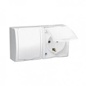 Białe gniazdo natynkowe podwójne typu Schuko z klapką AQGSZ1-2/11 Simon Aquarius Kontakt-Simon