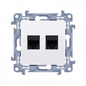 Białe gniazdo komputerowe podwójne RJ45 kat. 5e C52.01/11 Simon 10 Kontakt-Simon