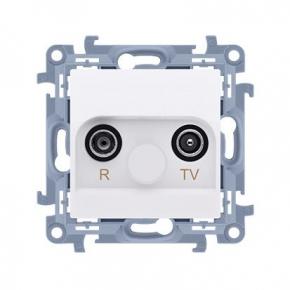 Białe gniazdo antenowe R-TV przelotowe Simon 10 CAP10.01/11 Kontakt-Simon