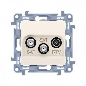 Kremowe gniazdo antenowe SAT-SAT-RTV Simon 10 CASK2.01/4 Kontakt-Simon