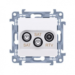 Białe gniazdo antenowe SAT-SAT-RTV Simon 10 CASK2.01/11 Kontakt-Simon