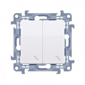 Biały włącznik schodowy podwójny z podświetleniem LED Simon 10 CW6/2L.01/11 Kontakt-Simon