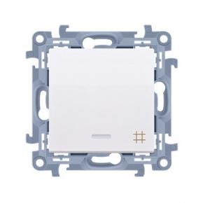 Biały włącznik krzyżowy z podświetleniem LED Simon 10 CW7L.01/11 Kontakt-Simon