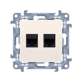 Kremowe gniazdo telefoniczne podwójne RJ12 Simon 10 CT2.01/41 Kontakt-Simon