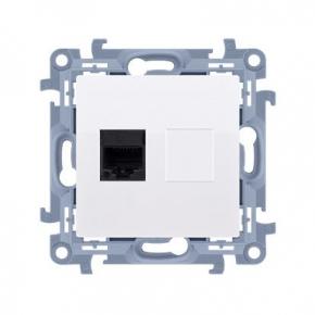 Białe gniazdo sieciowe pojedyncze RJ45 kat.6 Simon 10 C61.01/11 Kontakt-Simon