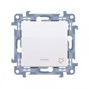 Biały przycisk dzwonek z podświetleniem LED Simon 10 CD1L.01/11 Kontakt-Simon