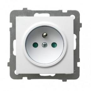 Białe gniazdo pojedyncze z uziemieniem GP-1 GZP AS OSPEL