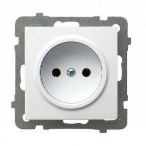 Białe gniazdo pojedyncze bez uziemienia GP-1G AS OSPEL
