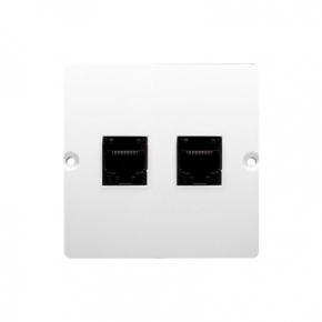 Białe gniazdo telefoniczne podwójne RJ11 (moduł) BMTF2.02/11 Simon Basic Kontakt-Simon