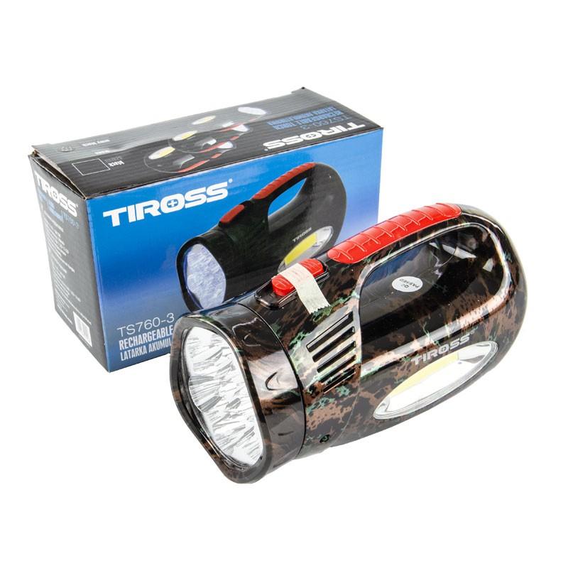 Latarki-led - latarka akumulatorowa ładowalna czarna/moro 13 led+3w cob ts-760-3 tiross firmy TIROSS