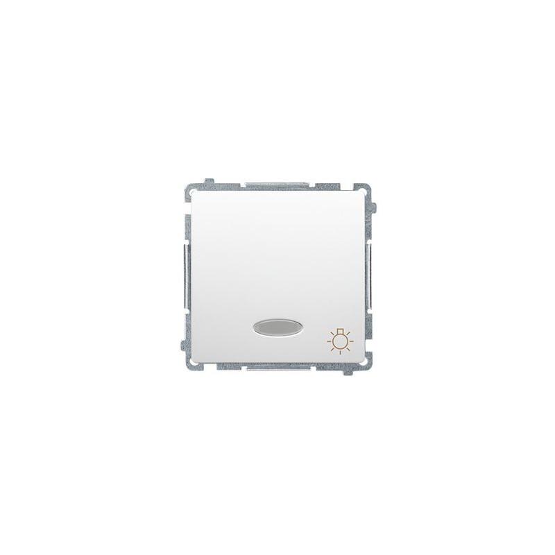 Wylaczniki-typu-swiatlo-zwierne - biały przycisk zwierny światło z podświetleniem led kolor niebieski (moduł) szybkozłączka bms1l.01/11 simon basic kontakt-simon firmy Kontakt-Simon