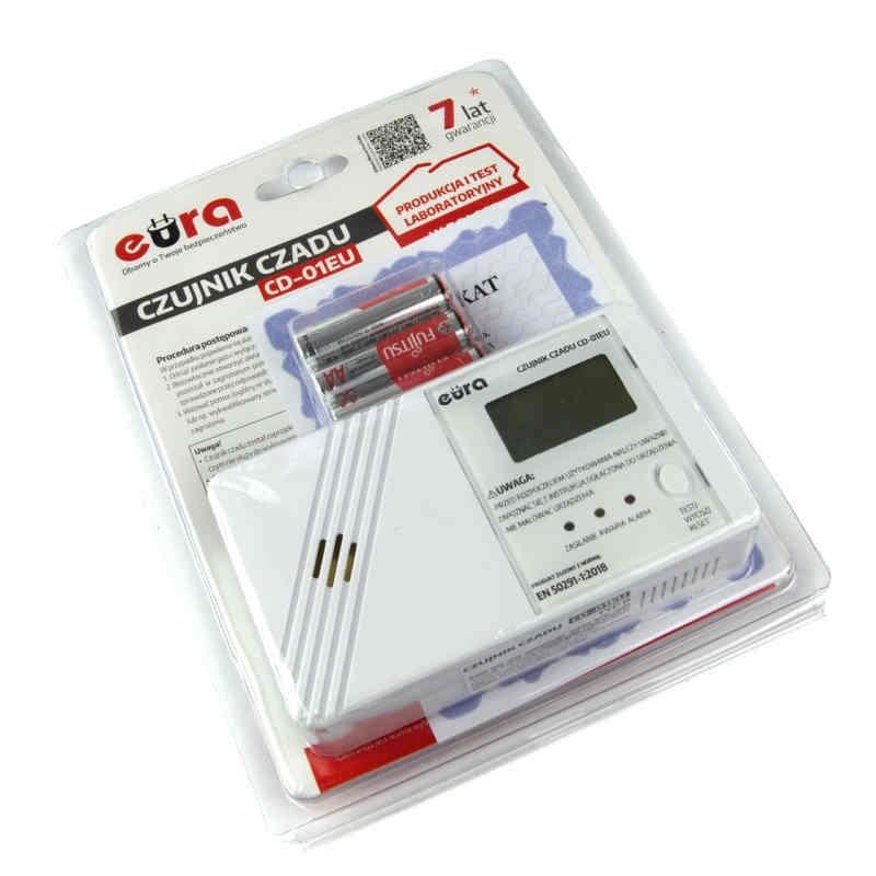 Czujniki-czadu - czujnik czadu z wyświetlaczem lcd na baterie 2xaa cd-01eu eura firmy EURA TECH