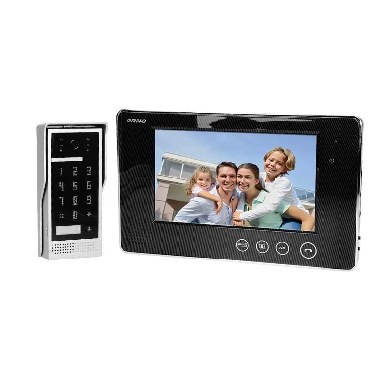 Wideodomofony - zestaw wideodomofonowy z szyfratorem crux 7 czarny or-vid-vp-1049/b orno firmy ORNO