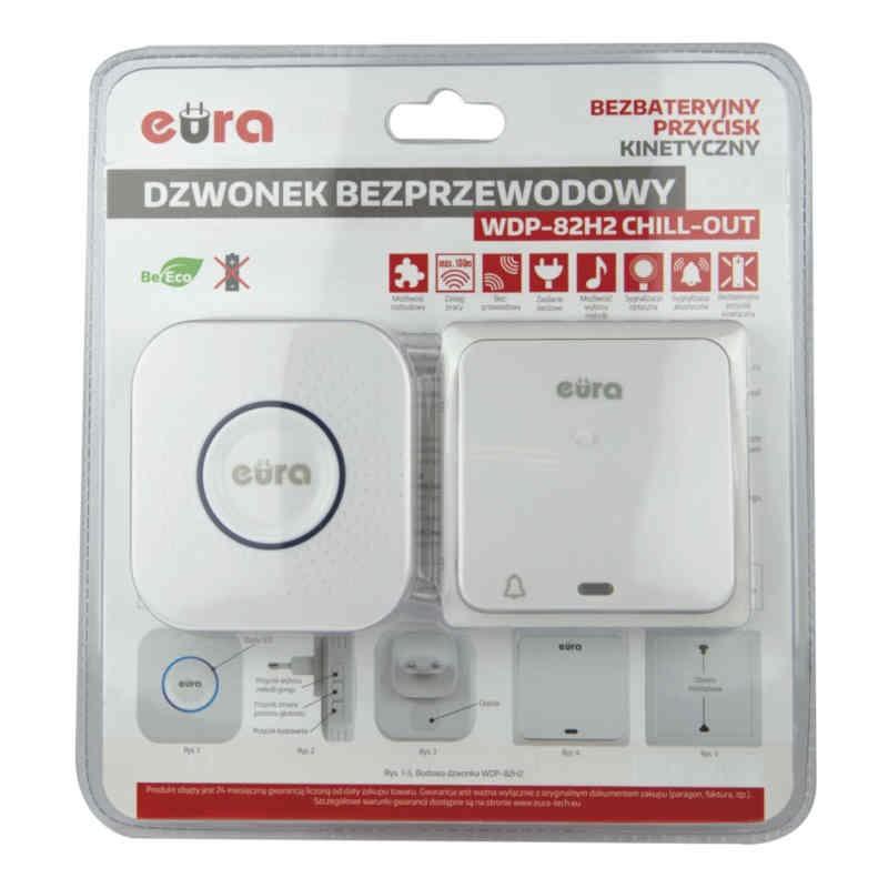 Dzwonki-do-drzwi-bezprzewodowe - dzwonek bezprzewodowy z przyciskiem kinetycznym biały wdp-82h2 chill-out eura kinetic firmy EURA TECH
