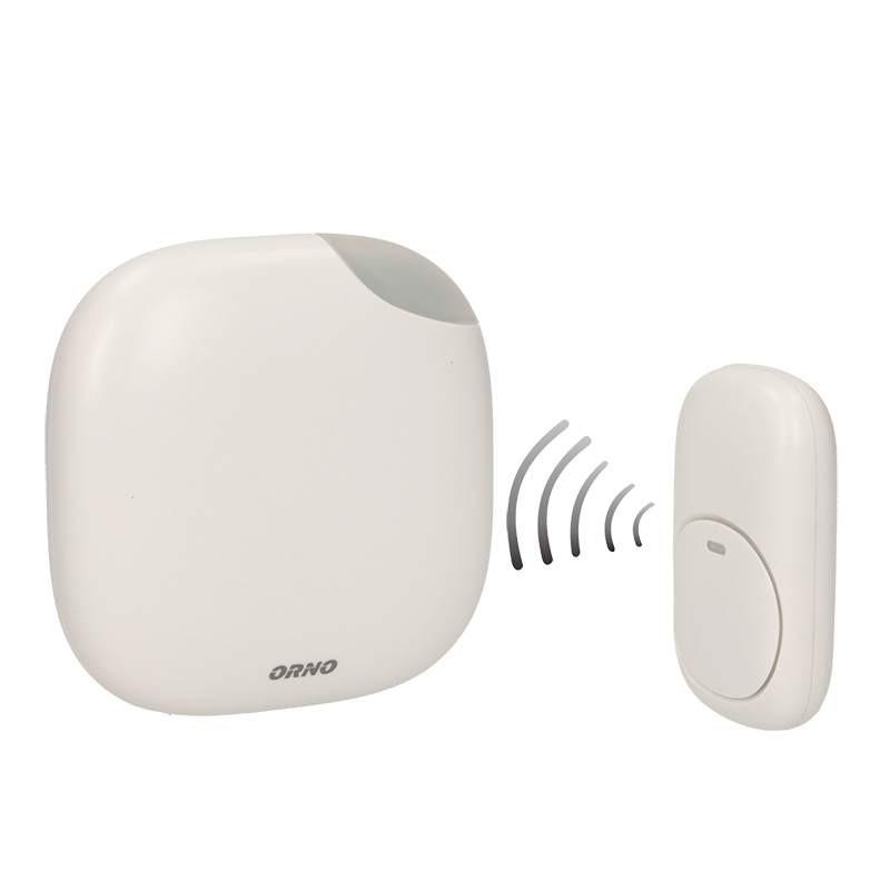 Dzwonki-do-drzwi-bezprzewodowe - dzwonek bezprzewodowy bateryjny z learning system i funkcją alarmu logico dc or-db-qm-124 orno firmy ORNO