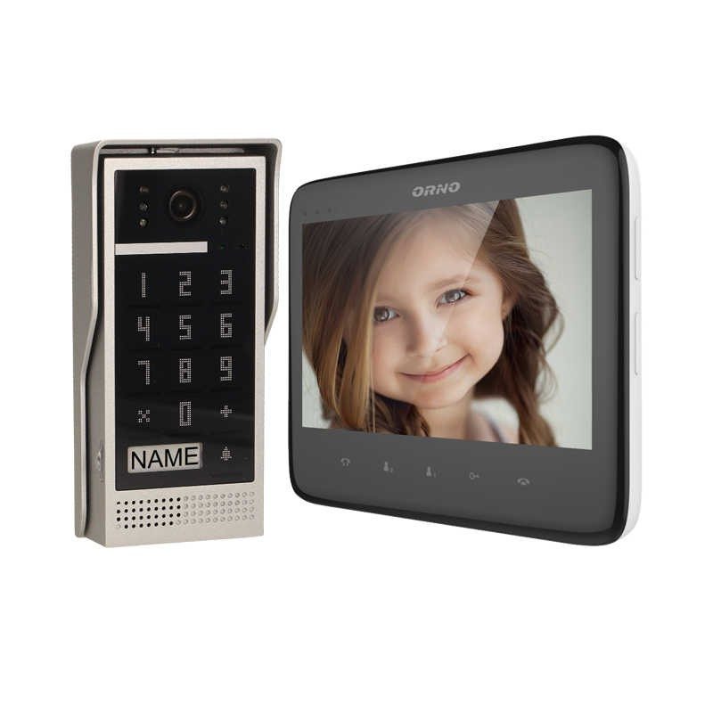 Wideodomofony - zestaw wideodomofonowy z szyfratorem dico 7 czarny or-vid-vp-1055/b orno firmy ORNO