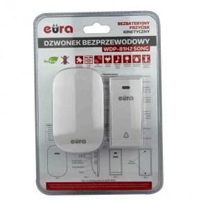 Dzwonki-do-drzwi-bezprzewodowe - dzwonek bezprzewodowy bezbateryjny z przyciskiem kinetycznym biały wdp-81h2 song eura kinetic
