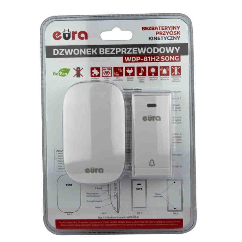 Dzwonki-do-drzwi-bezprzewodowe - dzwonek bezprzewodowy bezbateryjny z przyciskiem kinetycznym biały wdp-81h2 song eura kinetic firmy EURA TECH