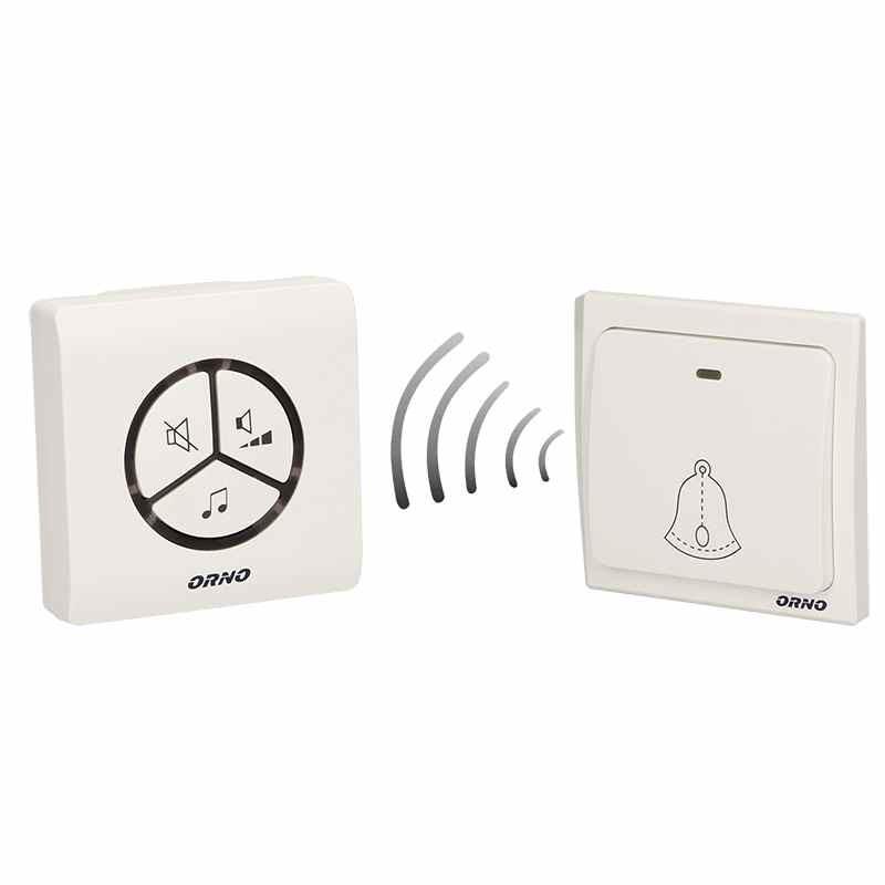 Dzwonki-do-drzwi - dzwonek bezprzewodowy do drzwi 230v z learning system i bezbateryjnym przyciskiem smartek ac or-db-lt-126 orno firmy ORNO