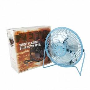 Wentylatory-na-biurko - wentylator biurkowy z usb w kolorze niebieskim zefir blue rum-lux