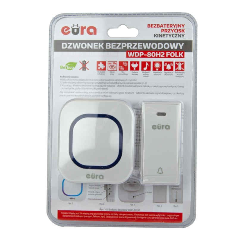 Dzwonki-do-drzwi-bezprzewodowe - dzwonek bezprzewodowy biały z przyciskiem kinetycznym 100m wdp-80h2 folk eura kinetic firmy EURA TECH