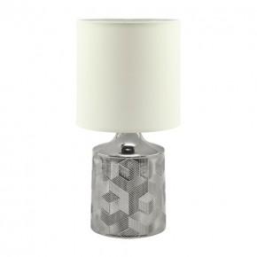 Lampki-nocne - biało-srebrna lampka stołowa w stylu glamour linda 03785 ideus