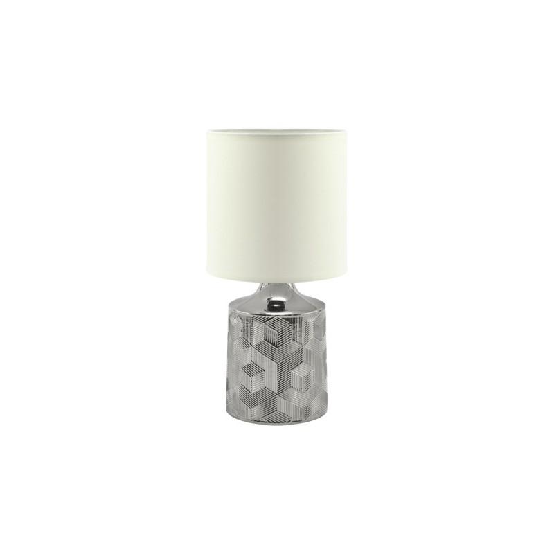 Lampki-nocne - biało-srebrna lampka stołowa w stylu glamour linda 03785 ideus firmy IDEUS