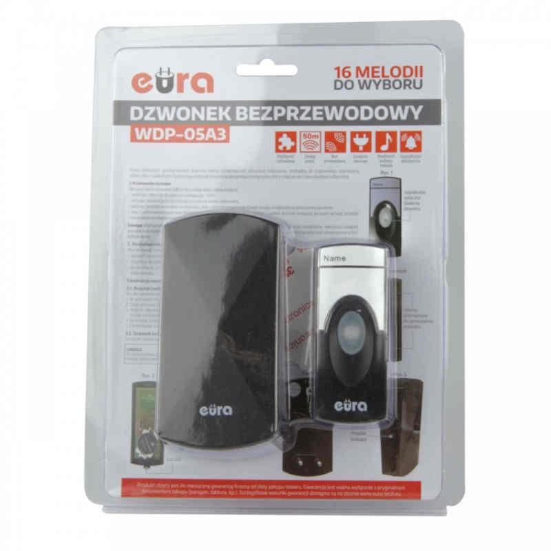 Dzwonki-do-drzwi-bezprzewodowe - dzwonek bezprzewodowy czarny 230v wdp-05a3 eura firmy EURA TECH