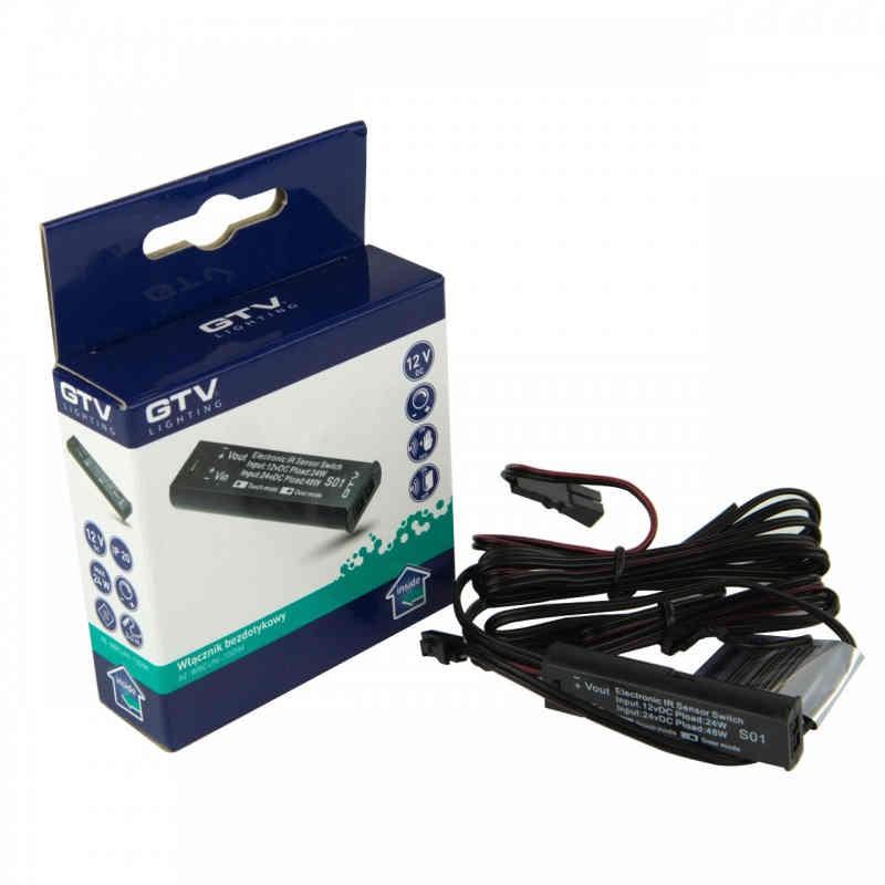 Zestawy-sterowania-bezprzewodowego - włącznik bezdotykowy uniwersalny czarny 12v dc ae-wbcuni-10dim gtv firmy GTV