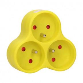 Listwy-zasilajace - limonkowy rozgalęźnik na trzy gniazda z uziemieniem okrągłe 3x2p+z or-ae-13134/l orno