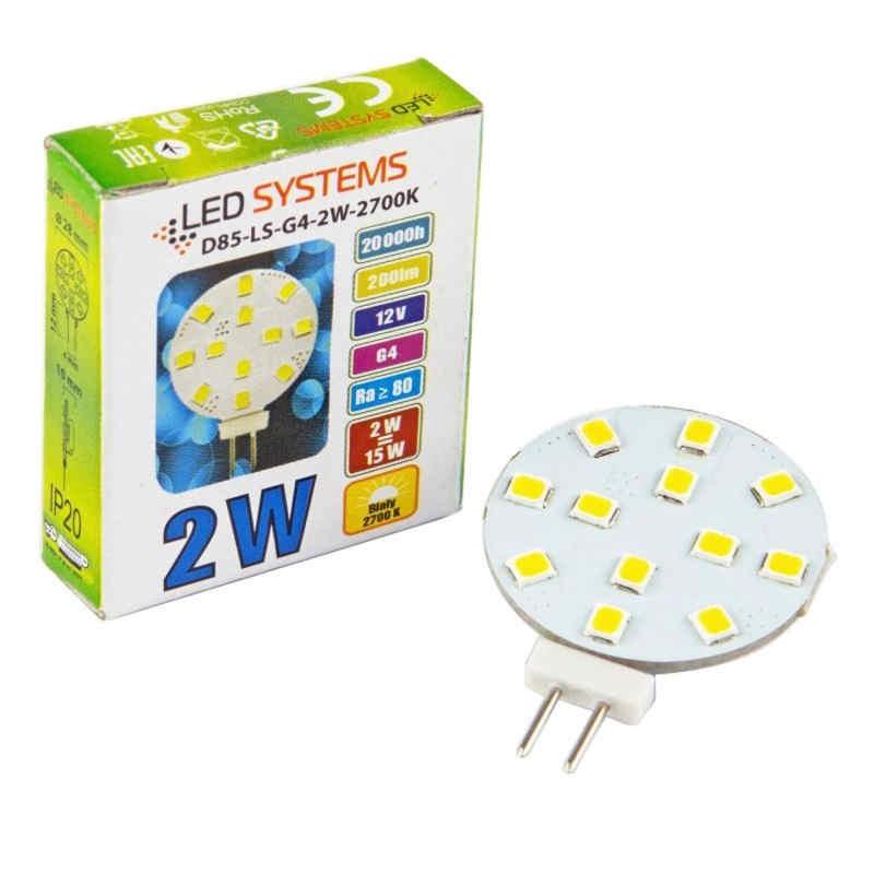 Gwint-trzonek-g4 - żarówka led talerzykowata g4 12v 2w-15w 200lm 2700k d85-ls-g4-2w-2700k led systems firmy LED SYSTEMS