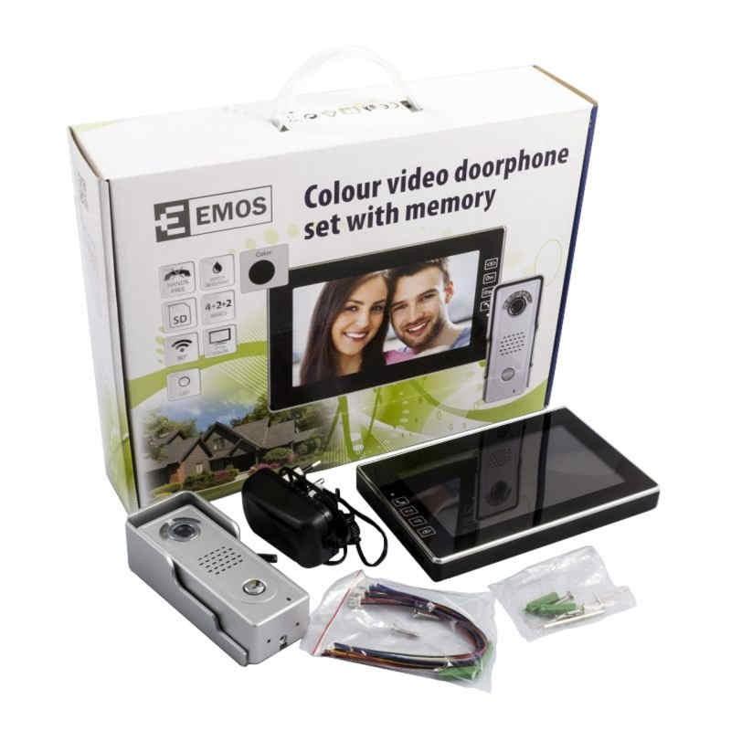 Wideodomofony - wideodomofon kolor z pamięcią h1018 emos firmy EMOS