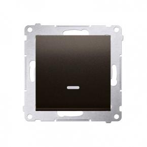 Włącznik jednobiegunowy z podświetleniem LED 10AX brązowy mat DW1L.01/46 Simon 54 Kontakt-Simon