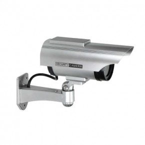 Wideodomofony - atrapa kamery monitorującej cctv z panelem solarnym srebrna 2xaa or-ak-1207/g orno