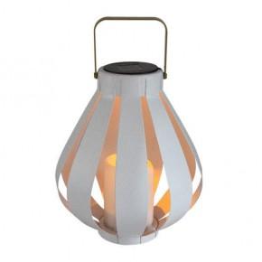Latarenki-ogrodowe - elegancka latarenka solarna led biała ze świecą ahobro polux