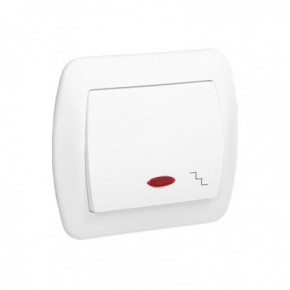 Biały włącznik schodowy z podświetleniem  AW6L/11 Simon Akord Kontakt-Simom