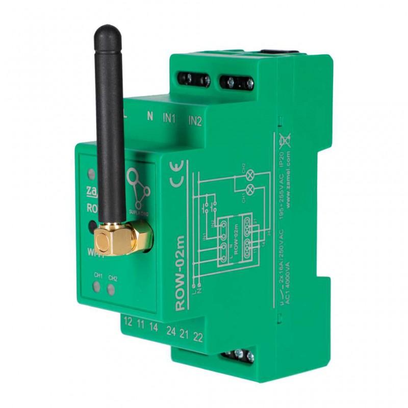 Sterowniki-i-odbiorniki - odbiornik modułowy wi-fi 2-kanałowy na szynę row-02m 16a supla zamel firmy ZAMEL