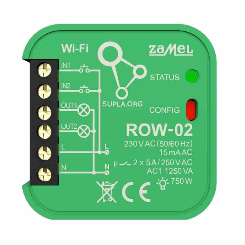 Sterowniki-i-odbiorniki - odbiornik wi-fi dwukanałowy dopuszkowy row-02 supla zamel firmy ZAMEL