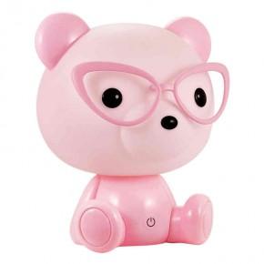 Oswietlenie-do-pokoju-dzieciecego - lampka nocna różowy miś okularnik led 2,5w polux