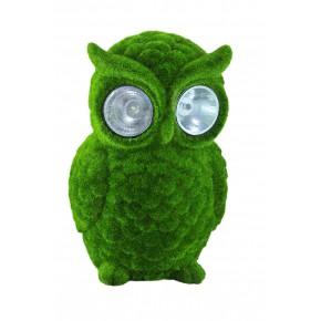 Ozdobne-oswietlenie-do-ogrodu - zielona lampa solarna do ogrodu w kształcie sowy polux