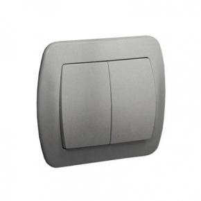 Srebrny włącznik świecznikowy z podświetleniem AW5L/26 Simon Akord Kontakt-Simon