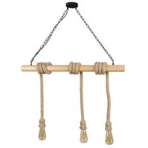 Lampy-sufitowe - lampa sufitowa wisząca na trzy żarówki e27 3x12w brązowy/czarny il mio rope wood 314512 polux