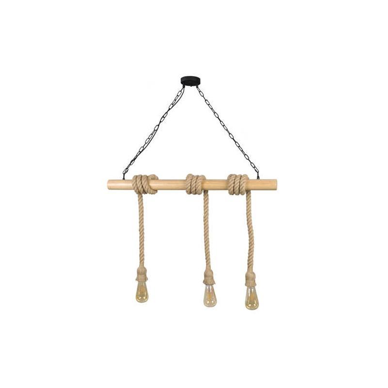 Lampy-sufitowe - lampa sufitowa wisząca na trzy żarówki e27 3x12w brązowy/czarny il mio rope wood 314512 polux firmy POLUX