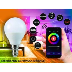 Gwint-trzonek-e14 - żarówka led e14 sterowana telefonem ze zmienną barwą światła tuya g45 5,5w wifi smart led 313799 polux