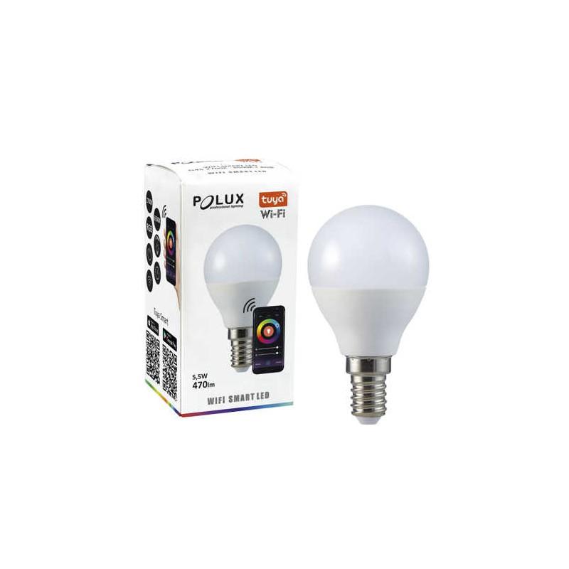 Gwint-trzonek-e14 - żarówka led e14 sterowana telefonem ze zmienną barwą światła tuya g45 5,5w wifi smart led 313799 polux firmy POLUX