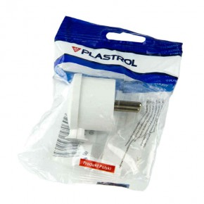 Przedluzacze-elektryczne - wtyczka kątowa biała b/u wt-10 plastrol