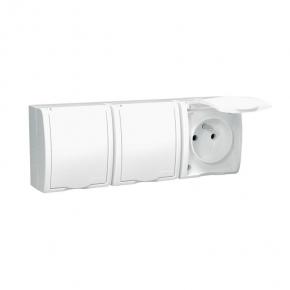 Białe gniazdo potrójne z uziemieniem IP54 z klapką w kolorze białym biały 16A AQGZ1-3/11 Simon Aquarius Kontakt-Simon