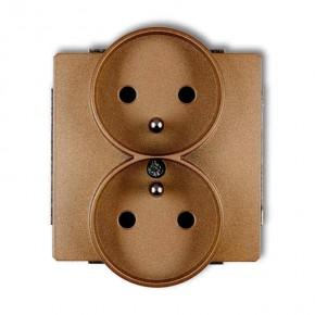 Gniazda-podwojne-podtynkowe - złote gniazdo elektryczne podwójne z uziemieniem do ramek deco soft 8dgprso-2z karlik